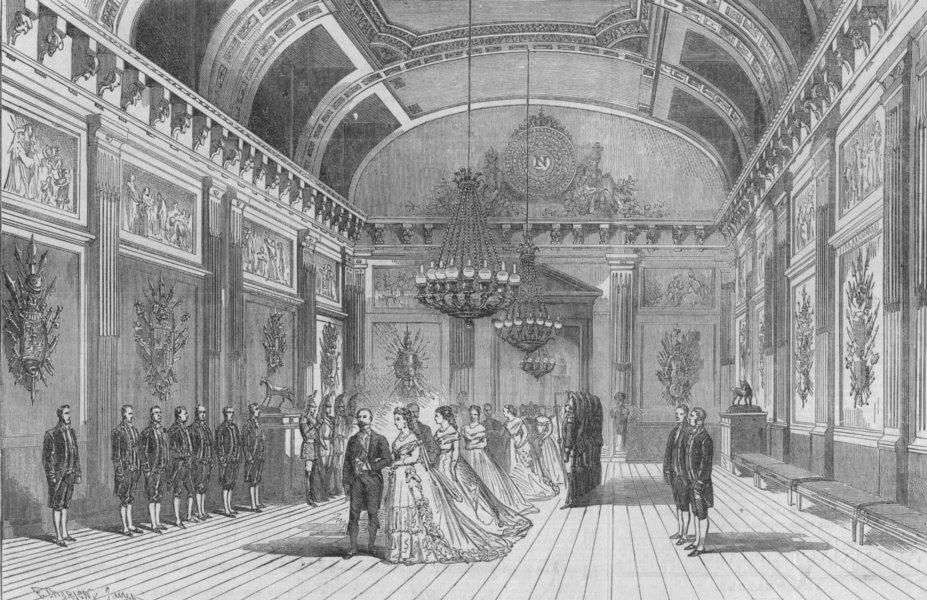 Associate Product FRANCE. Emperor and Empress passing through the Salle des Gardes, print, 1868