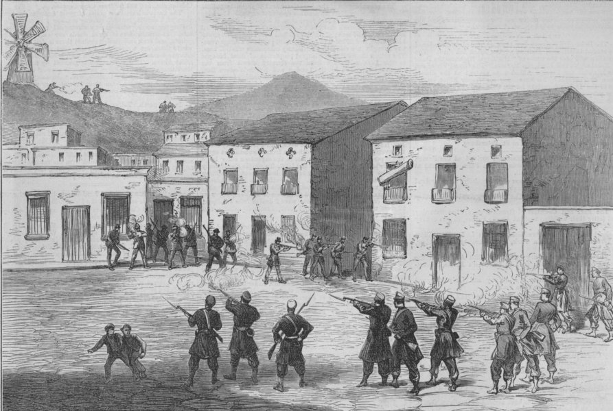Associate Product SPAIN. Carabiniers resisting the Cartagena insurgents at Aguilas, print, 1873