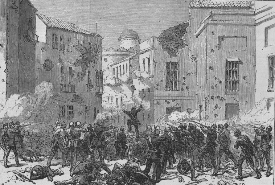 Associate Product SEVILLE. Civil war in Spain. Attack of Civil Guard on the Puerta de Uíge, 1873