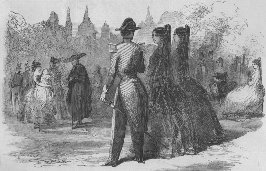 Associate Product SPAIN. A Street scene in Madrid II, antique print, 1856