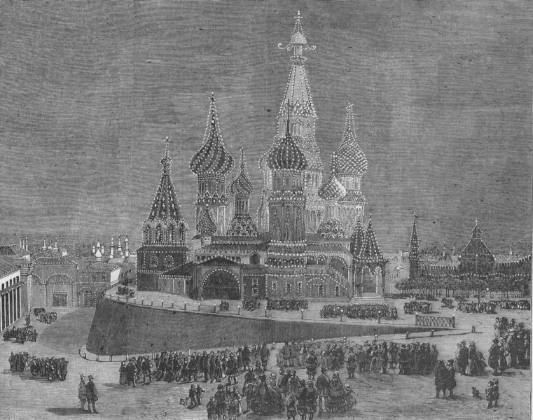 Associate Product RUSSIA. Red Square. cath. St Basil, Moscow Москва, illuminated, old print, 1856