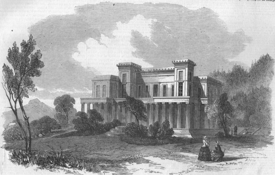 Associate Product CANNES. The Chateau Eleanora Louisa, the seat of Lord Brougham, old print, 1856