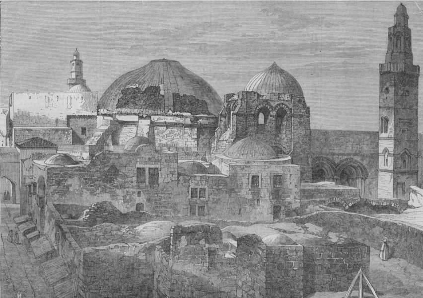 Associate Product JERUSALEM. The Latin church of the Holy Sepulchre. Israel, antique print, 1865