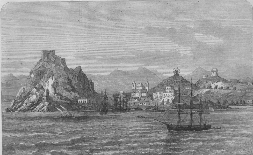 Associate Product SPAIN. Aguilas, visited with requisitions by the insurgents of Cartagena, 1873