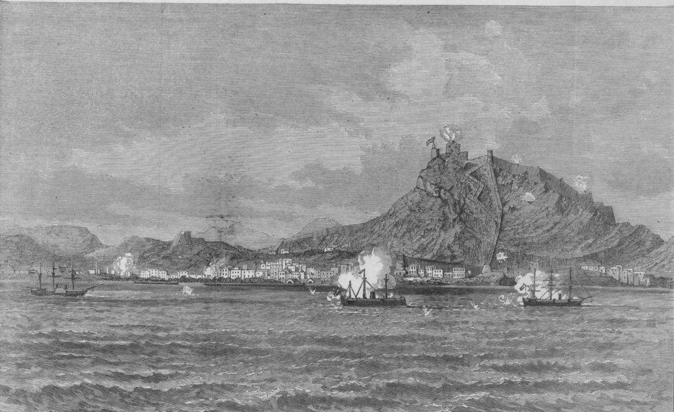 Associate Product THE CIVIL WAR IN SPAIN. Bombardment of Alicante, antique print, 1873
