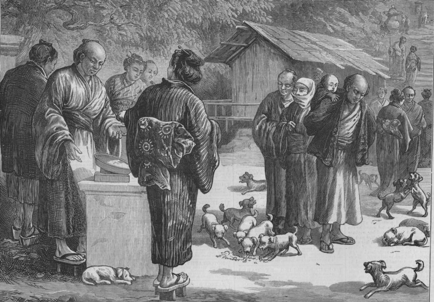 Associate Product JAPAN. Sketches Japan. Feeding Puppy-dogs Buddhist Temple Oyama, old print, 1873
