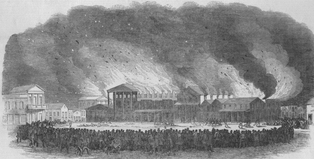 Associate Product CALIFORNIA. Destructive fire at San Francisco-400 buildings burnt, print, 1850