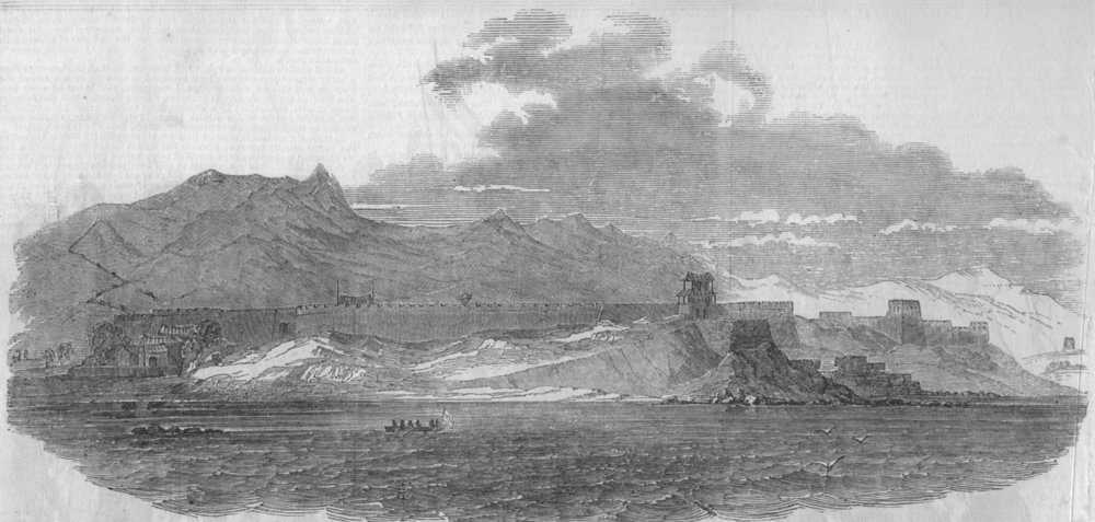 Associate Product CHINA. General view of the Great Wall of China, from the sea, old print, 1850