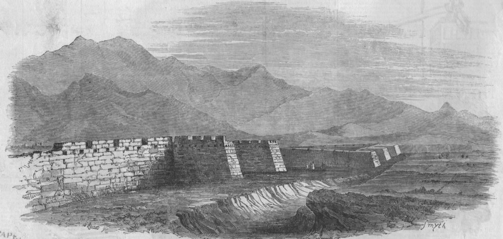 Associate Product CHINA. The Great Wall, seen from the top of the Tower, antique print, 1850