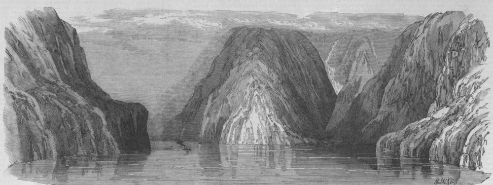 Associate Product NEW ZEALAND. Milford Sound-view looking down, antique print, 1869