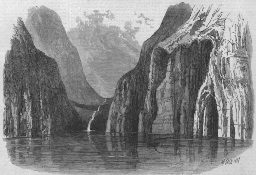 Associate Product NEW ZEALAND. Valley North of Milford Sound, antique print, 1869