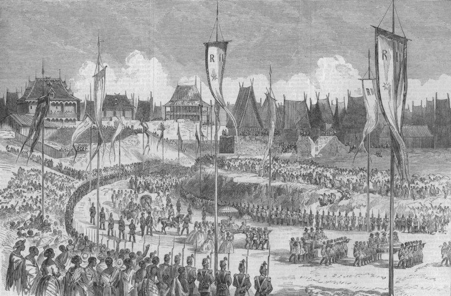 Associate Product MADAGASCAR. King's coronation Andohalo, Kabary Ground Antananarivo, print, 1863