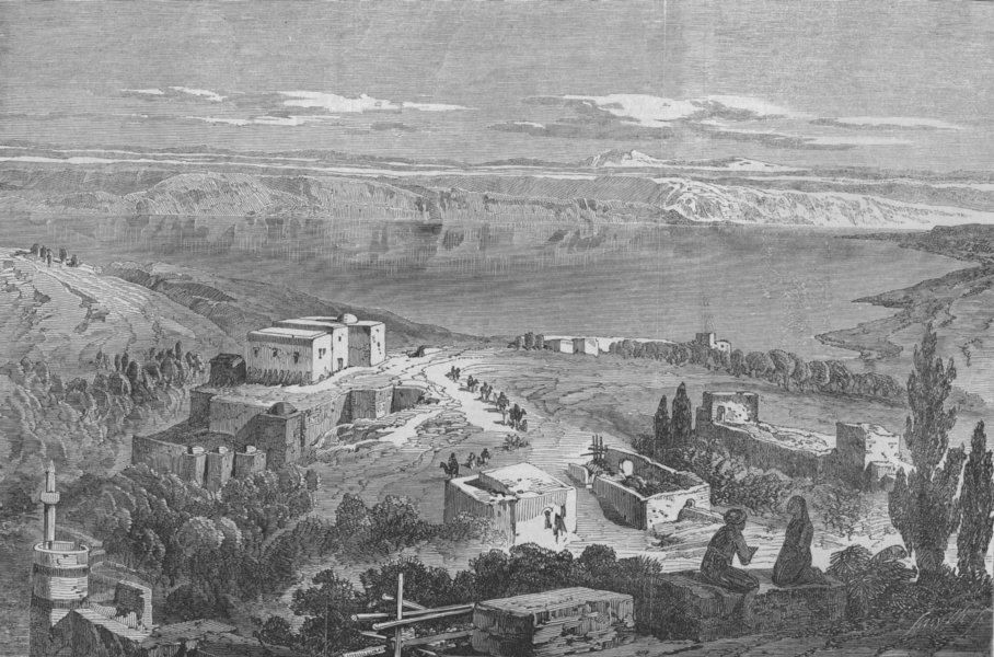 Associate Product ISRAEL. The Sea of Galilee, from Telbin's panorama, antique print, 1863
