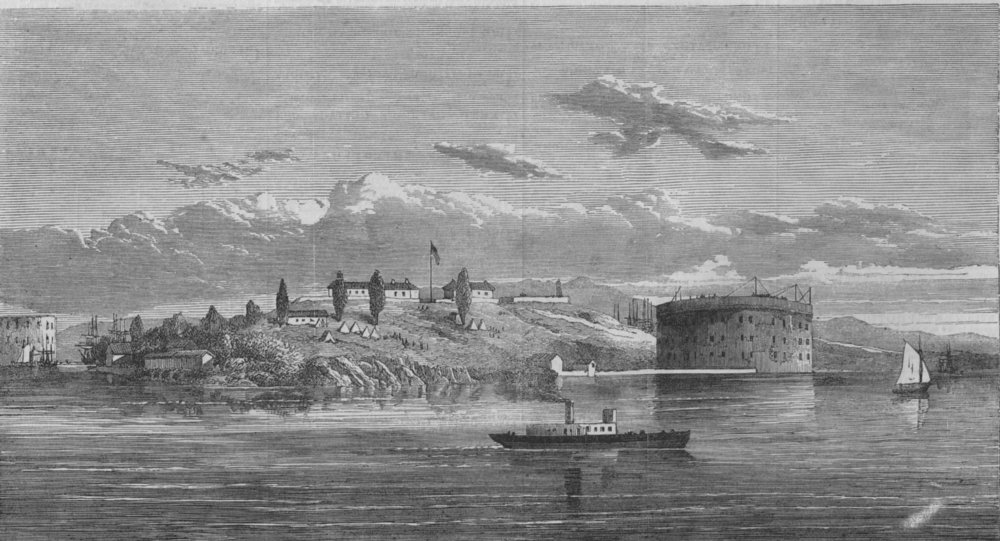 Associate Product NEW YORK. American Civil War. Governor's Island and Fort, New York harbour, 1865