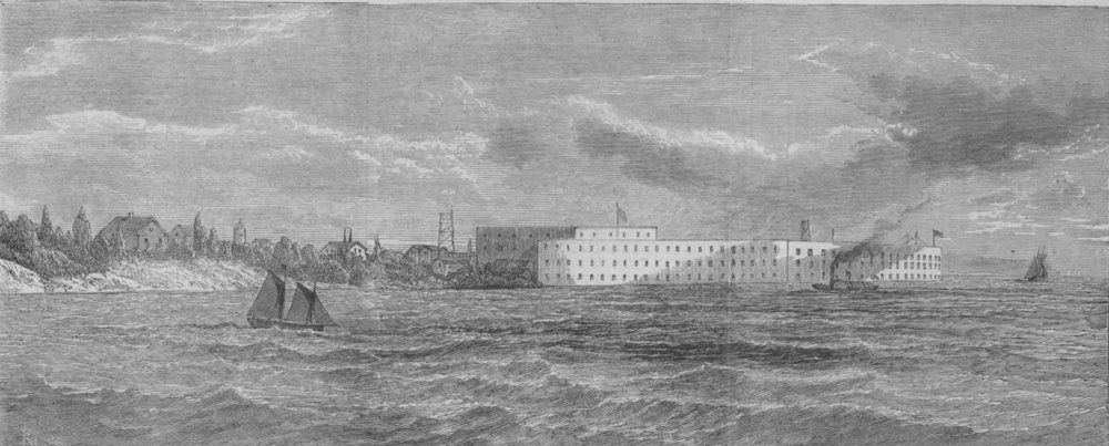 Associate Product NEW YORK.The new fort near Sandy Hook, the entrance to the bay of New York, 1865
