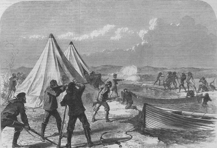 Tierra Del Fuego Hms Nassau Surveying Party Attacked By Natives Print 1867