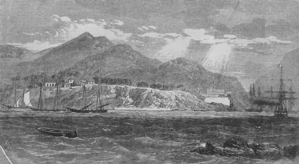 Associate Product MEXICO. Acapulco, with the English and French fleet in the harbour, print, 1862