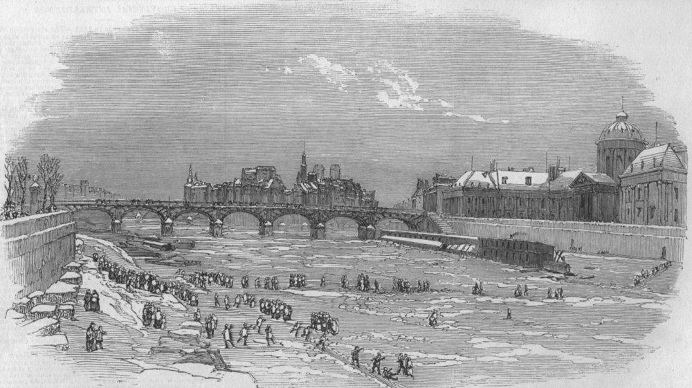 Associate Product PARIS. The Seine frozen. France, antique print, 1854