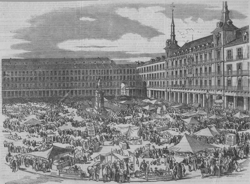 SPAIN. The Great Square in Madrid, on Christmas Eve. Plaza Mayor, print, 1854