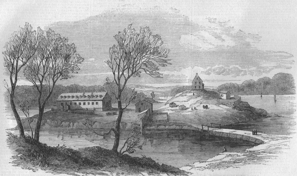 Associate Product HALIFAX. Barracks of the Foreign Legion, Melville Island. Canada, print, 1855