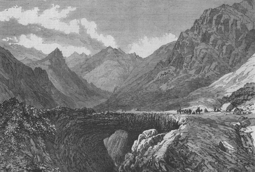 Associate Product ARGENTINA. The Inca's Bridge, Pass of Uspallata, South America, old print, 1868