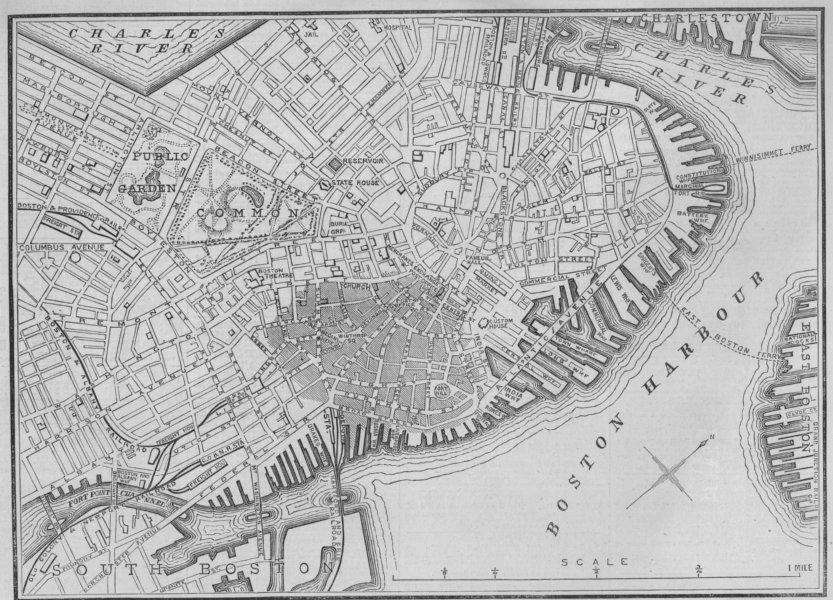 Associate Product GREAT BOSTON FIRE 1872. City plan, showing the extent of the fire, 1872 map