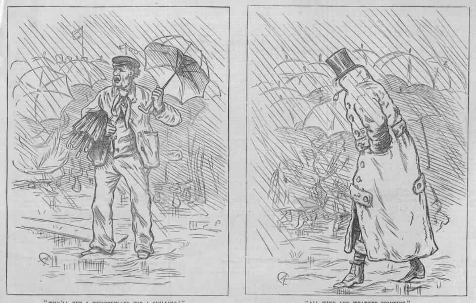 Associate Product LONDON BOAT-RACE. Who'll buy a Humbereller for a Shilling?, antique print, 1872