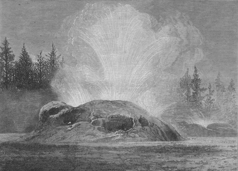Associate Product YELLOWSTONE.Washburn-Langford-Doane Expedition.The Grotto Geyser. Wyoming, 1873
