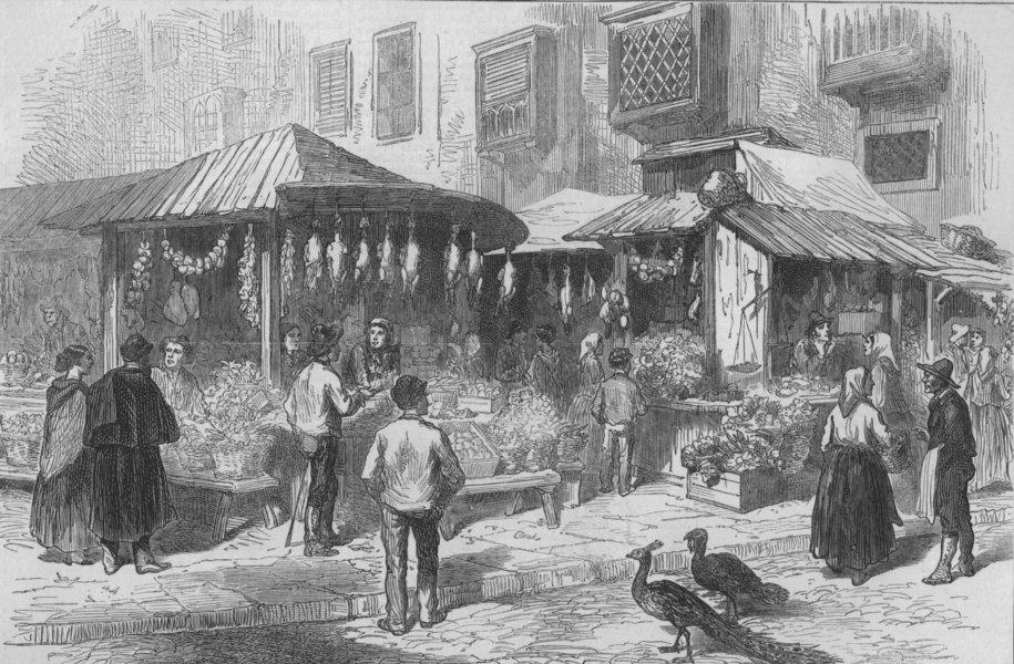 Associate Product SPAIN. Old Market-Place of San Miguel, antique print, 1873