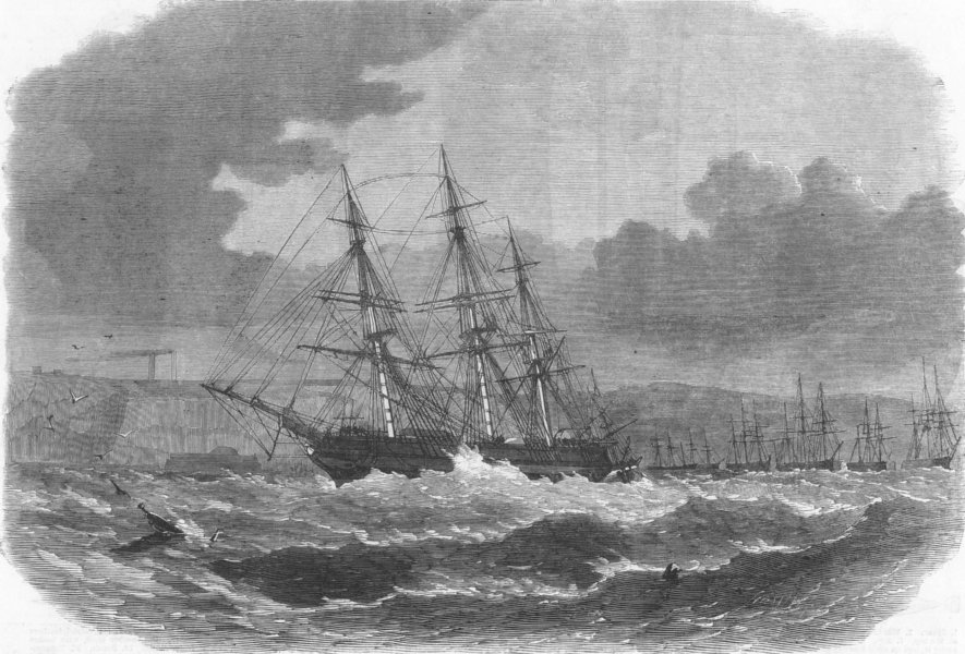 Associate Product PLYMOUTH. The emigrant ship Amoor driving up the Cattewater, antique print, 1865