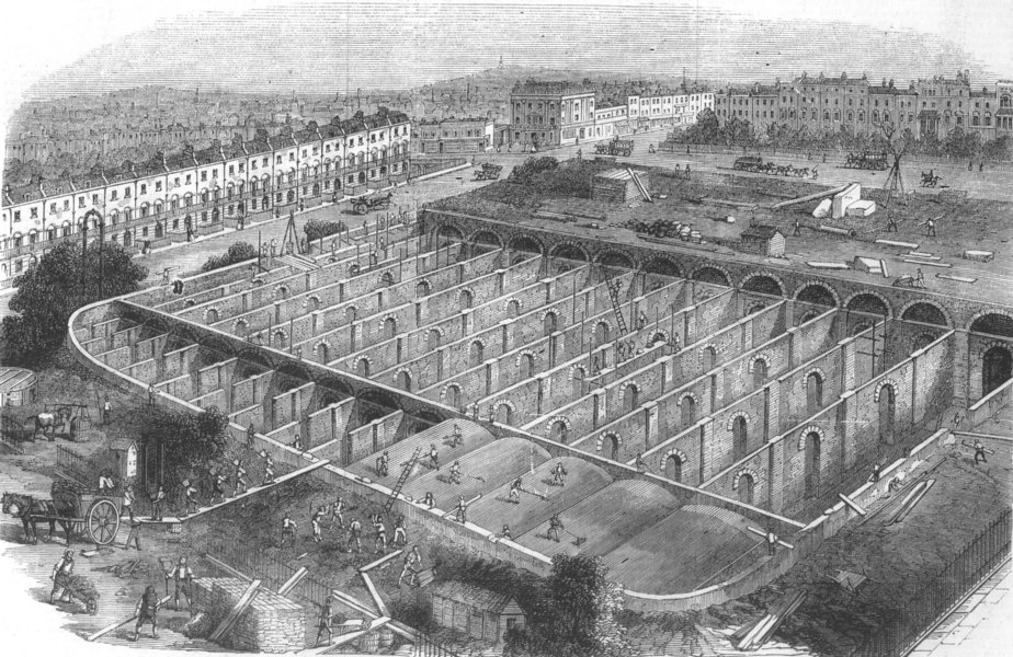 Associate Product PENTONVILLE. Service reservoir of the new river company, Claremont Square, 1865