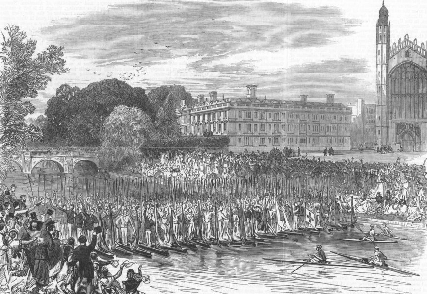 Associate Product CAMBRIDGE. Procession of boats-Three cheers for the Cambridge Eight, print, 1870