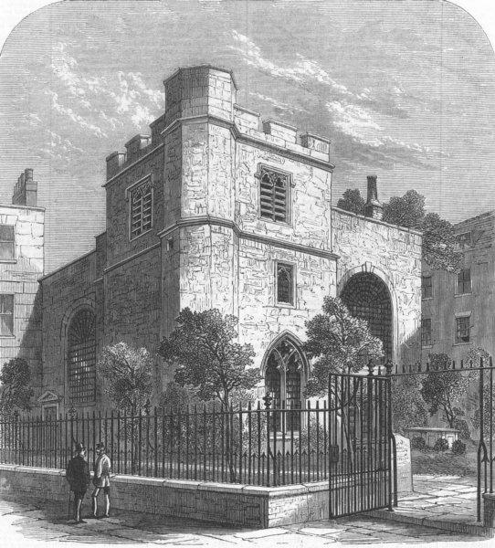 Associate Product LONDON. Allhallows Staining Church, Mark-Lane, antique print, 1870