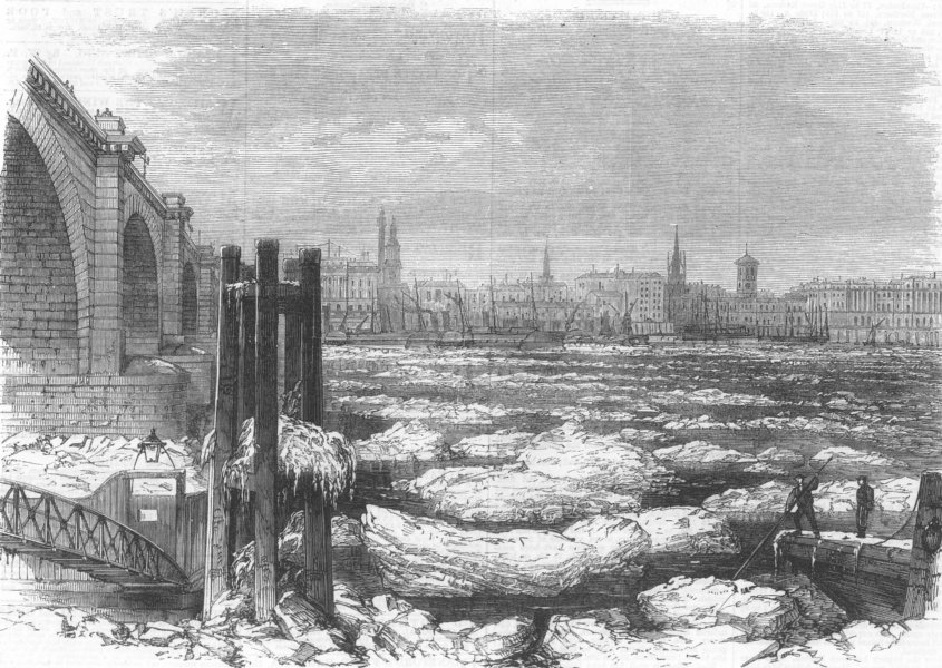 Associate Product LONDON. Ice in the Thames at London Bridge, antique print, 1870