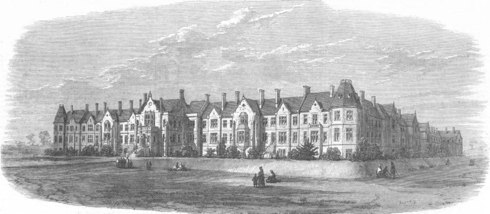 Associate Product DEVON. Wonford House, Exeter, retreat for the insane, antique print, 1870