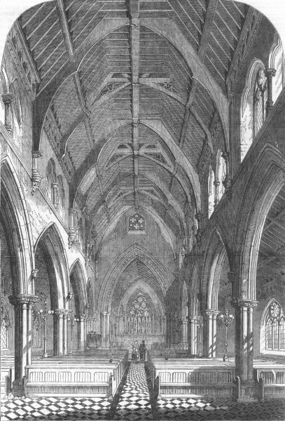 Associate Product BEDFORDSHIRE. New Church of St. Matthew, Bedford New Town, antique print, 1856