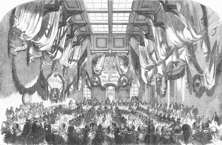 Associate Product LEEDS. Banquet for the Earl Of Cardigan, in the Stock Exchange, old print, 1856