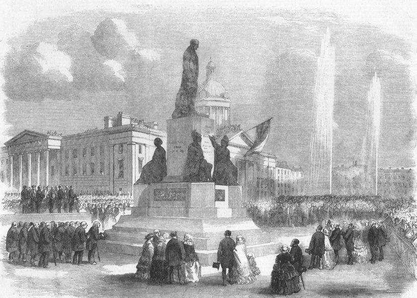 Associate Product MANCHESTER. Inauguration of the Wellington Memorial, antique print, 1856