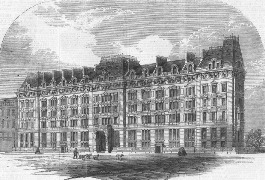 Associate Product LONDON. Westminster Palace Hotel, antique print, 1860