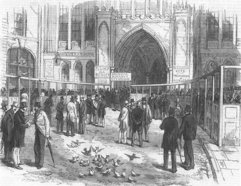 Associate Product LONDON. registration of the Livery in Guildhall Yard, antique print, 1869