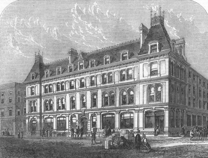 Associate Product CITY OF LONDON. New Buildings in Paternoster Row, antique print, 1863