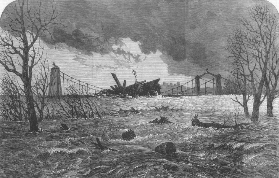 Associate Product MANCHESTER. Destruction of a wooden bridge on the Irwell, Lower Broughton, 1866