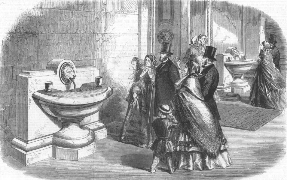 Associate Product THE BRITISH MUSEUM. Drinking-fountains. London, antique print, 1860