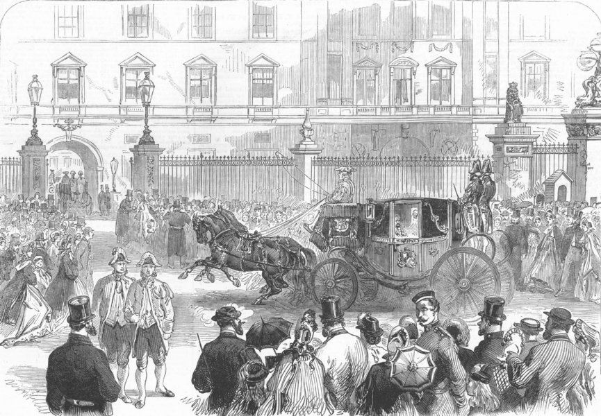 Associate Product LONDON. Arrival of the Foreign Ambassadors, antique print, 1864