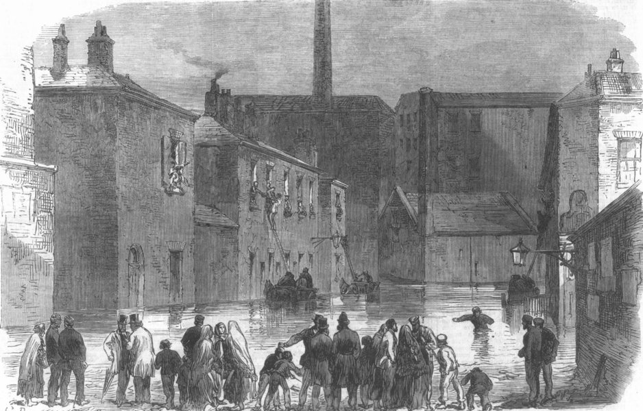 Associate Product MANCHESTER. Silk-Street, Adelphi, Salford, during the flood, antique print, 1866