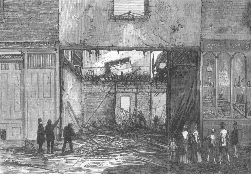 Associate Product BAYSWATER. Scene of the fire and explosion. London, antique print, 1869