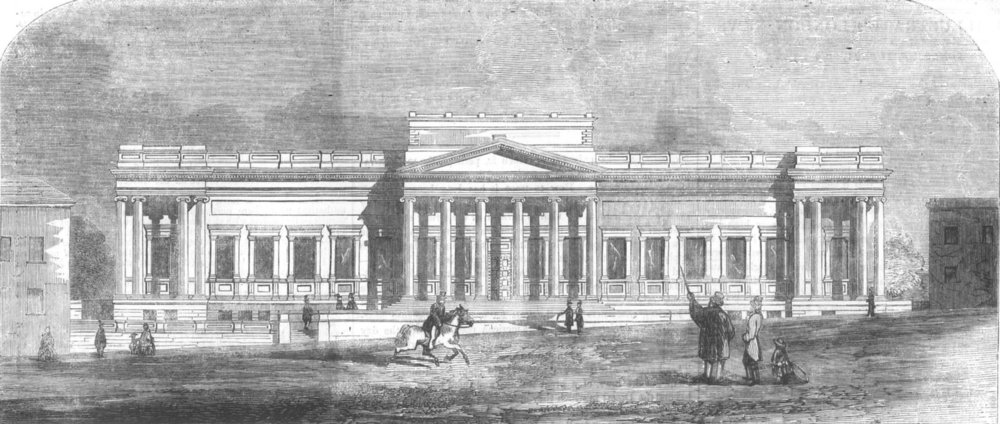 Associate Product LIVERPOOL. The Free Library and Museum, antique print, 1857
