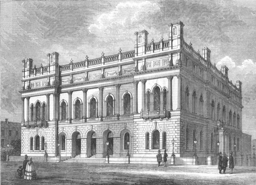 Associate Product BLACKBURN. The new Townhall. Lancashire, antique print, 1857