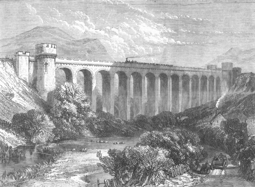 Associate Product WALES. The Knucklass Viaduct, Central Wales Railway, antique print, 1865