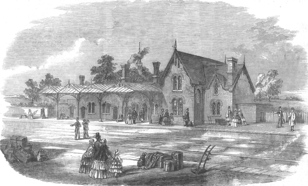 Associate Product NORTHAMPTONSHIRE. The Leicester and Hitchin Railway. Kettering Station, 1857